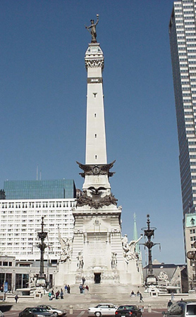 soldiers and sailors monument in downtown Indianapolis, Indiana which is a day trip from Cincinnati