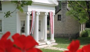 historic building with columns in Carillon Historical Park in Dayton, Ohio