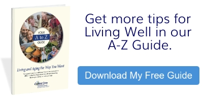 Cover of guide and Button reading Get more tips for living well in our a-z guide- Download my Free Guide.