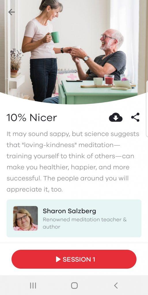 screenshot of 10 percent happier mindfulness app