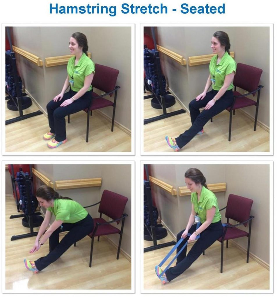 woman doing stretching her hamstrings from a chair